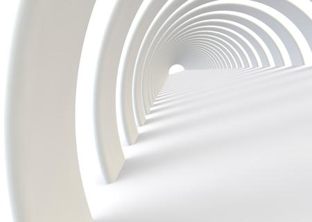 현대적인 스타일의 추상 미래의 흰색 터널