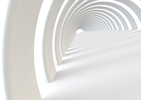 open road: Abstract futuristic white tunnel in a contemporary style