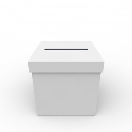 voter registration: White empty box to vote on an isolated background