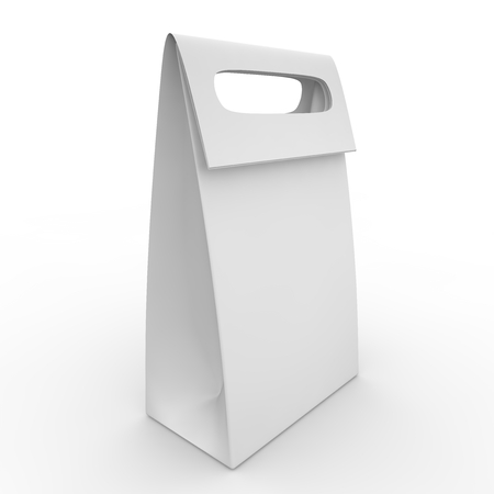 white goods: White blank package with handle for food and goods isolated on white background