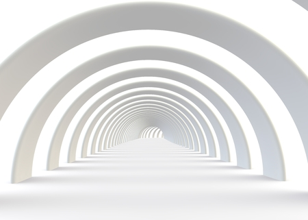 high technology: Abstract futuristic white tunnel in a contemporary style