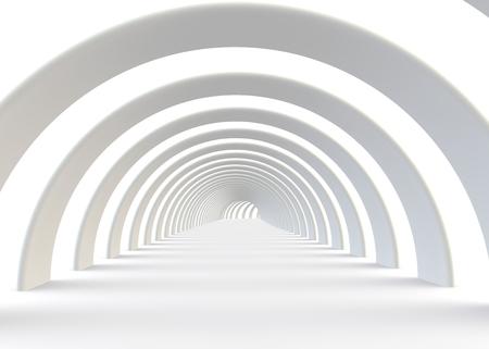 tunnel: t�nel blanco futurista en un estilo contempor�neo Foto de archivo
