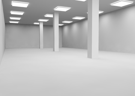 large office: Empty a large room lit by lamps for office or shop Stock Photo