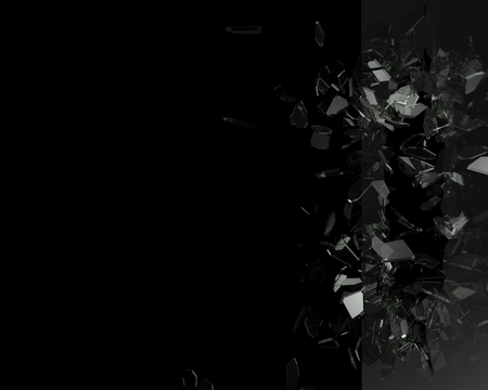 Broken glass from the blow, shot on a black isolated background with space for Your text or image
