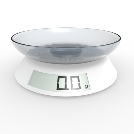 grams: Included electronic kitchen scales on the isolated background