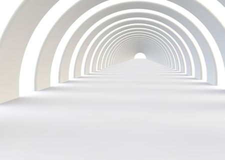現代的なスタイルで抽象的な未来の白いトンネル