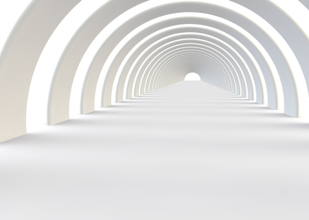Abstract futuristic white tunnel in a contemporary style