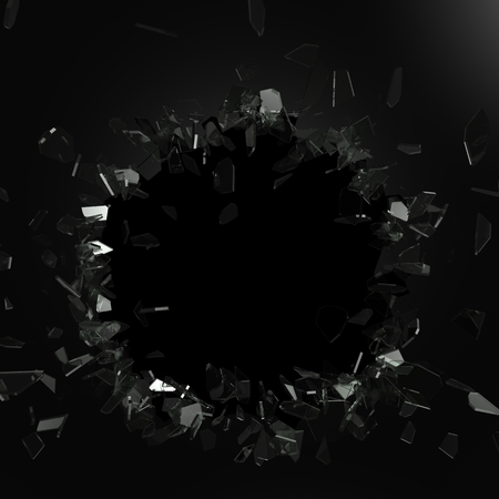dan: Broken glass from the blow, shot on a black isolated background with space for Your text or image
