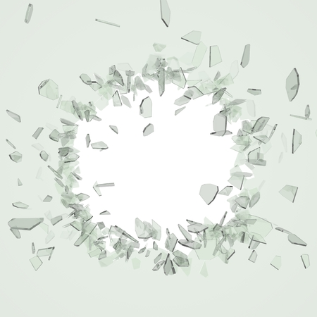 crack up: Broken glass from the blow, shot on a white isolated background with space for Your text or image