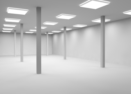 lighting column: Empty a large room lit by lamps for office or shop Stock Photo