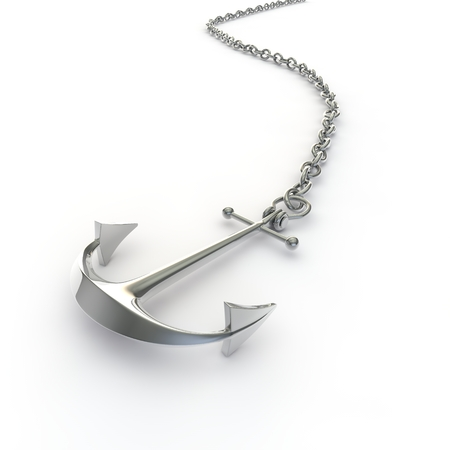 Ship anchor silver on a chain lying on the floor on an isolated white background