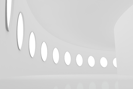 lighted: Abstract architectural white corridor round lighted windows