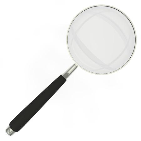 lupa: Lupa en un marco de metal con goma mango negro aislado en fondo blanco Foto de archivo