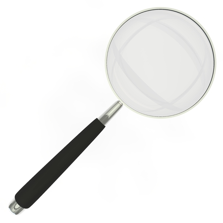 reading glass: Magnifying glass in a metal frame with rubber black handle isolated on white background Stock Photo