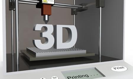 샘플 3D 프린터는 3D라는 단어를 인쇄합니다. 고립 된 배경