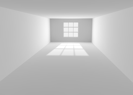 lighted: Empty white room with the lighted window Stock Photo