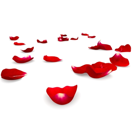 Red rose petals scattered on the floor. 3D render Stock Photo