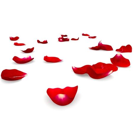 Rode rozenblaadjes verspreid over de vloer. 3D render