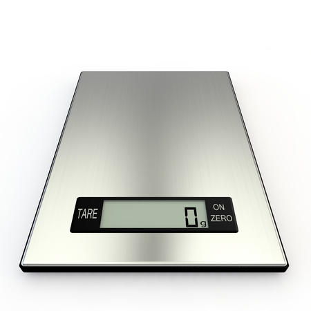 electronic background: Electronic kitchen scales show zero grams. Isolated white background Stock Photo