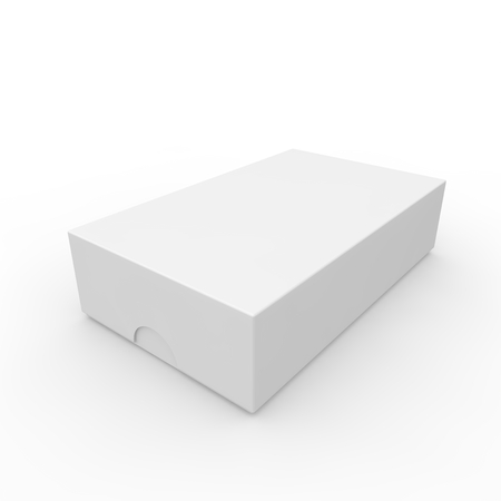 open hole: Closed white blank box. With a hole on the lid to open. Isolated white background