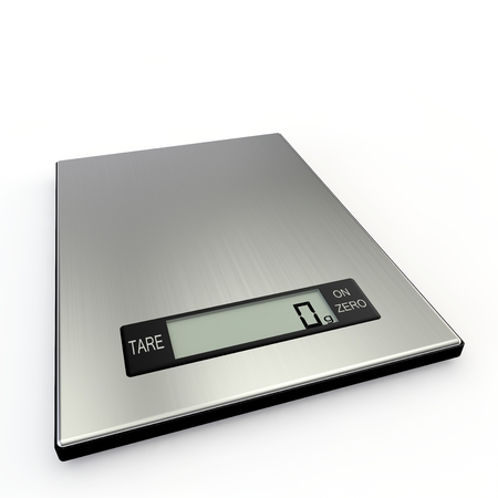 Electronic kitchen scales show zero grams. Isolated white background Фото со стока