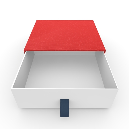 plating: White blank open box covered with a red cloth. Isolated background