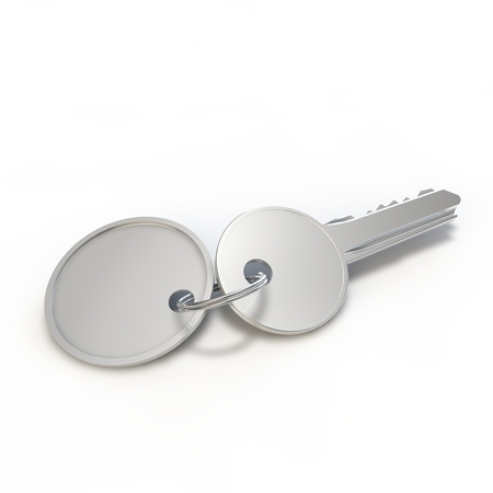hotel chain: A silver key with a tag on white isolated background