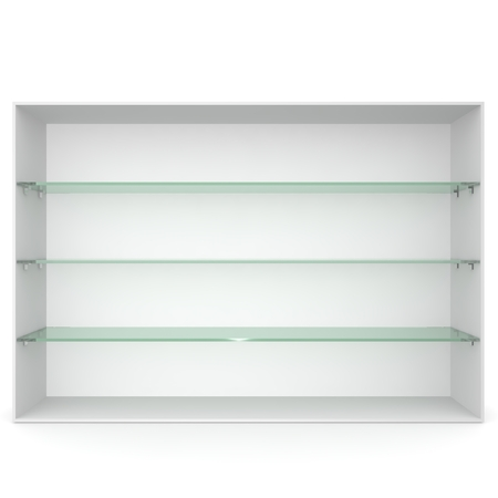 showcase: White empty showcase with glass shelves green. 3D rendering