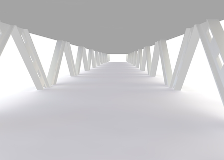 aisle: Abstract the construction of the bridge in a modern style. 3D rendering Stock Photo
