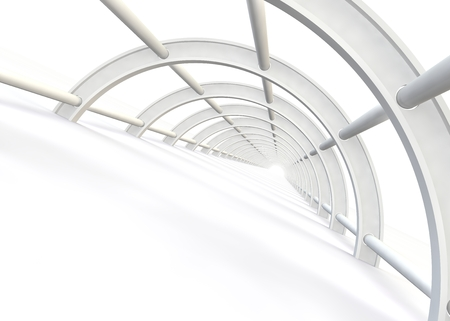balk: A bright light at the end of abstract futuristic white bridge