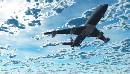 lax: The plane flies in the sky. 3D rendering