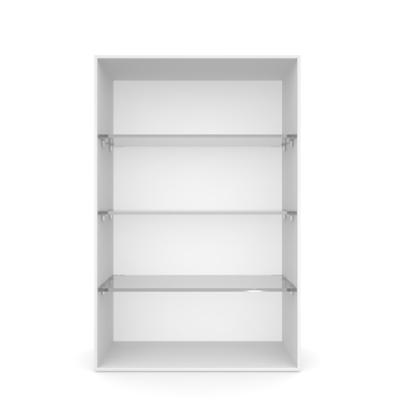 showcase: White empty showcase with glass shelves. 3D rendering