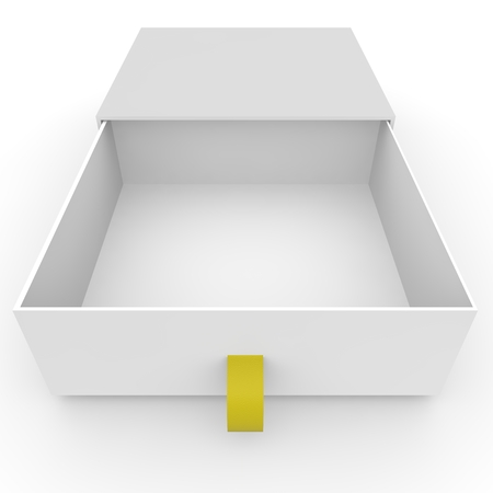 single seat: Open empty white box with rope for gifts on an isolated background