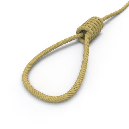 spiral cord: A rope with a noose lying on the floor on an isolated white background Stock Photo