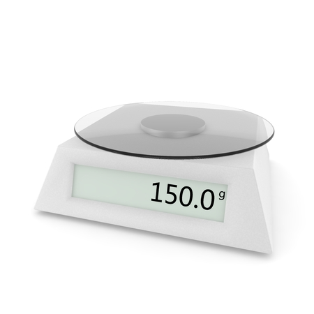 Digital kitchen scale show 150 grams. Isolated white background. 3D illustration Stockfoto