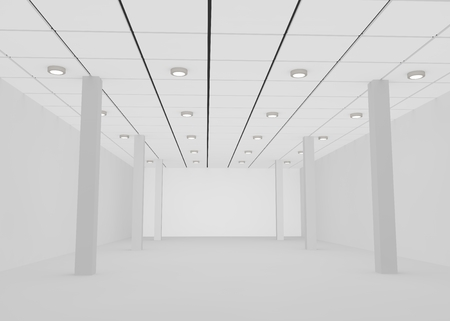 unfinished: White empty room for a shop or office with lights on the ceiling and pillars . 3D illustration