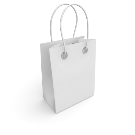 handles: Blank white package with handles small size for goods and products. Isolated white background. 3D illustration