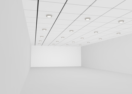 free background: White empty room for a shop or office with lights on the ceiling. 3D illustration