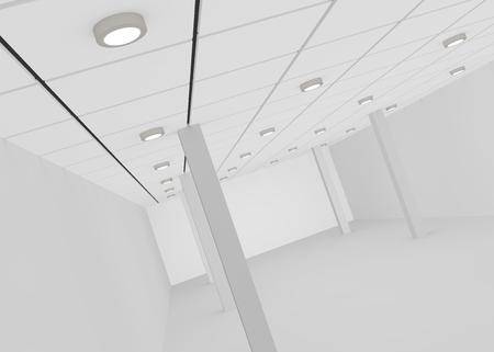 modern office interior: White empty room for a shop or office with lights on the ceiling and pillars . 3D illustration