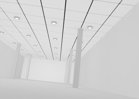 wall decor: White empty room for a shop or office with lights on the ceiling and pillars . 3D illustration