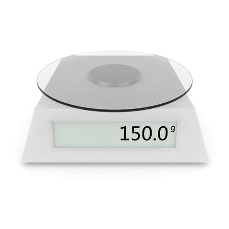 grams: Digital kitchen scale show 150 grams. Isolated white background. 3D illustration Stock Photo