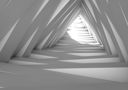 light at the end of the tunnel: Abstract tunnel in the gray notes. The light at the end of the tunnel. 3D illustration