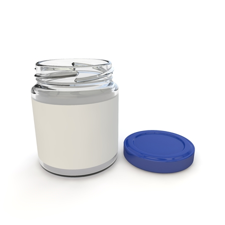 jams: Empty open jar with the label for baby food, purees, cereals, jams and other products. Isolated white background. 3D illustration