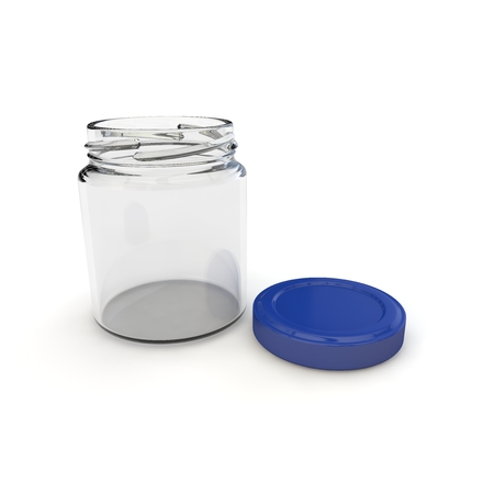 glass jar: Empty open jar for baby food, purees, cereals, jams and other products. Isolated white background. 3D illustration