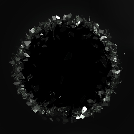 wrath: Broken glass from the blow, shot on a black isolated background with space for Your text or image. 3D illustration