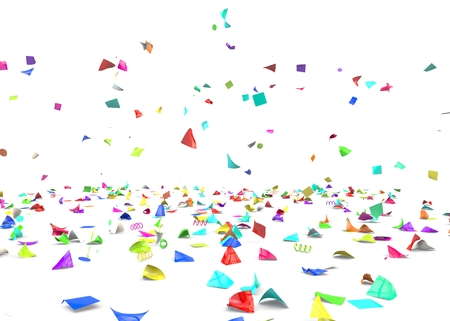 바닥에 누워 밝고 화려한 색종이. 격리 된 배경입니다. 3D 그림