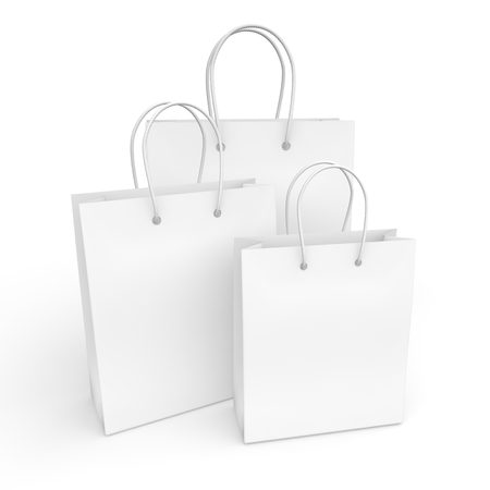 White empty packages for purchase. 3D illustration