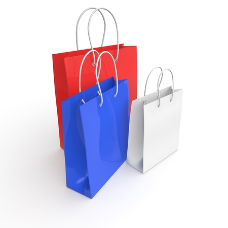 White, red and blue empty bags for purchase. 3D illustration