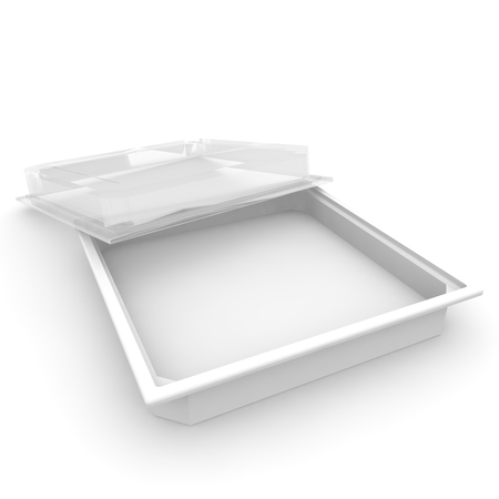 Empty plastic container with a transparent lid for food, confectionery products and other products. Isolated background. 3D illustration