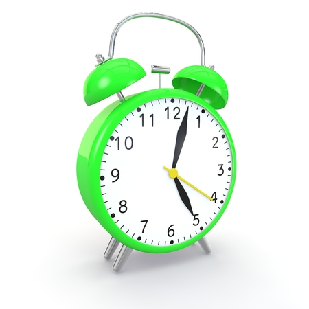wake up call: Green alarm clock on isolated background show time 5:03. 3d illustration